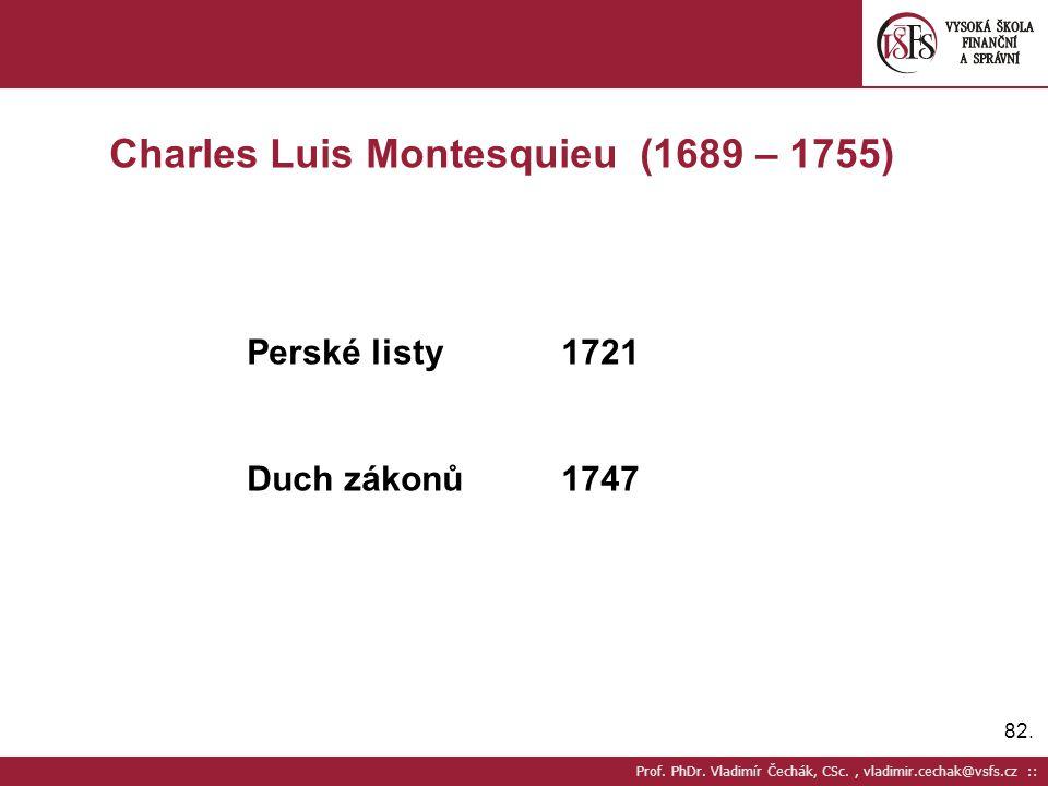 82. Prof. PhDr. Vladimír Čechák, CSc., vladimir.cechak@vsfs.cz :: Charles Luis Montesquieu (1689 – 1755) Perské listy1721 Duch zákonů1747