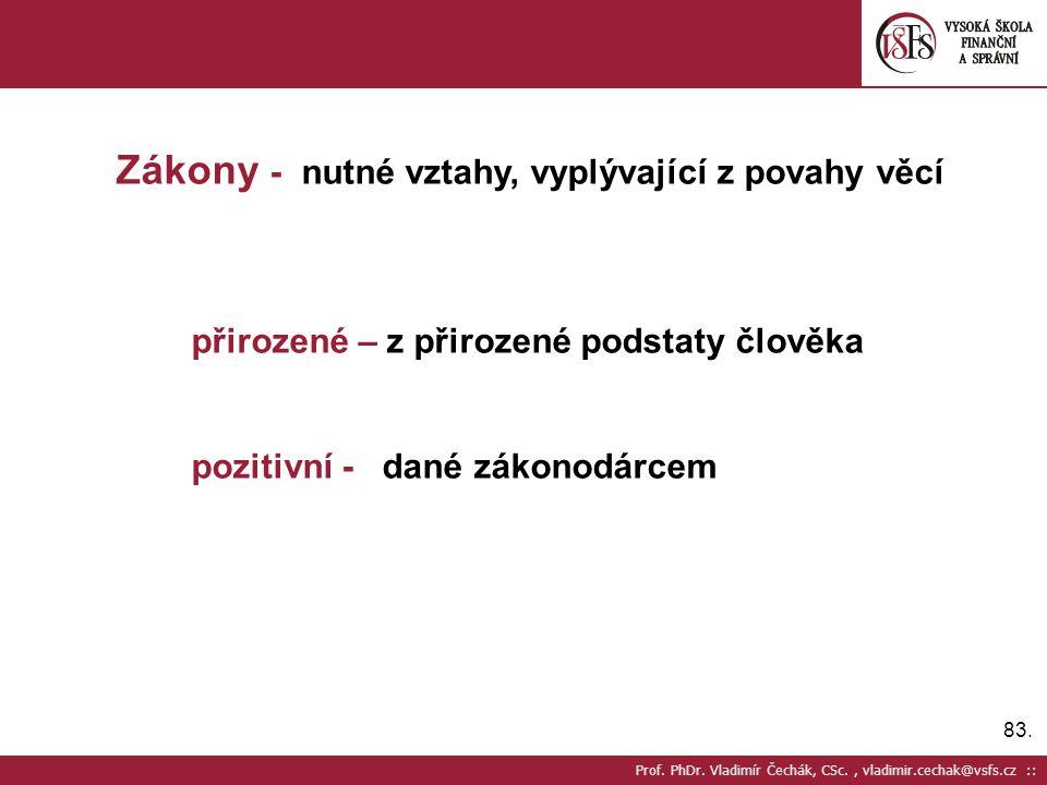 83. Prof. PhDr. Vladimír Čechák, CSc., vladimir.cechak@vsfs.cz :: Zákony - nutné vztahy, vyplývající z povahy věcí přirozené – z přirozené podstaty čl