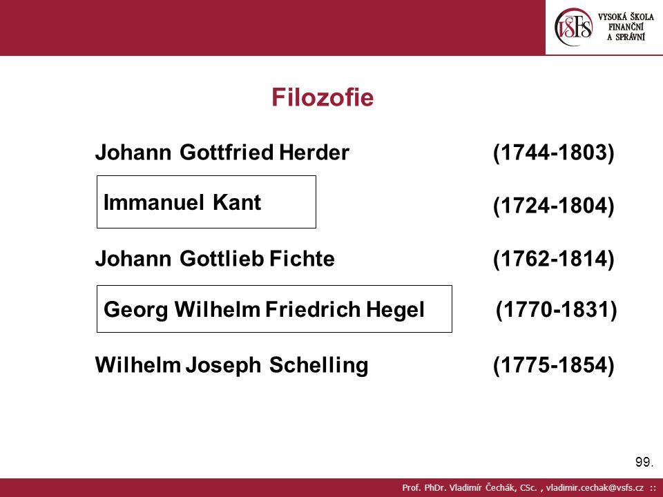 99. Prof. PhDr. Vladimír Čechák, CSc., vladimir.cechak@vsfs.cz :: Filozofie Johann Gottfried Herder(1744-1803) (1724-1804) Johann Gottlieb Fichte(1762