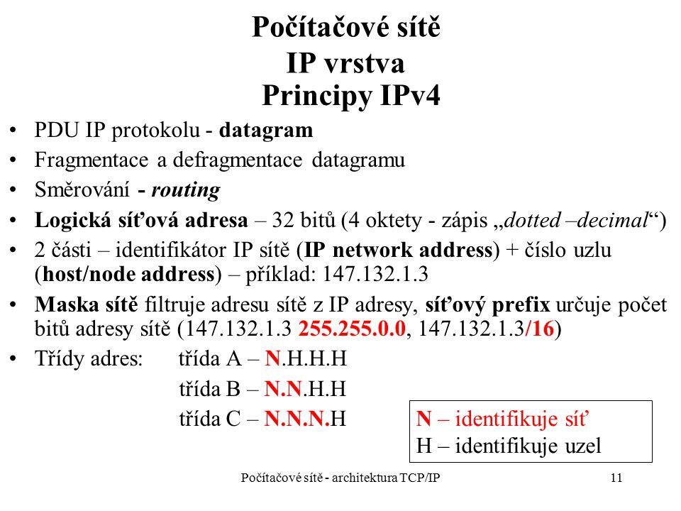 Počítačové sítě IP vrstva Principy IPv4 PDU IP protokolu - datagram Fragmentace a defragmentace datagramu Směrování - routing Logická síťová adresa –