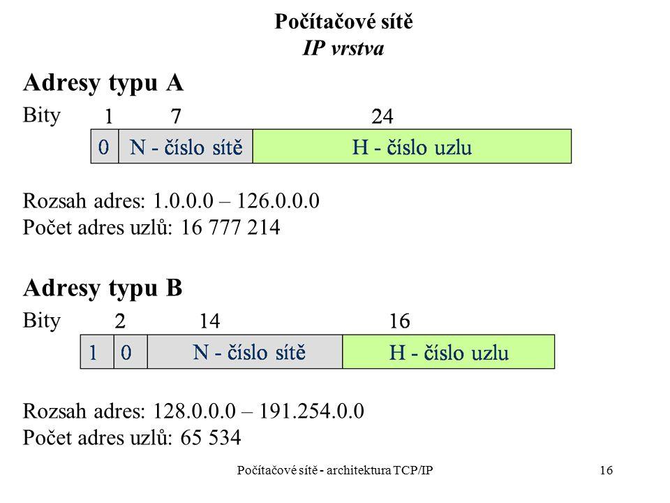 16 Počítačové sítě IP vrstva Počítačové sítě - architektura TCP/IP Adresy typu A Bity Rozsah adres: 1.0.0.0 – 126.0.0.0 Počet adres uzlů: 16 777 214 A