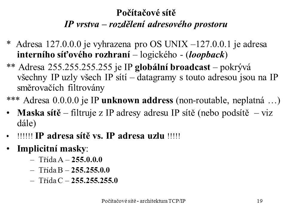 19 Počítačové sítě IP vrstva – rozdělení adresového prostoru * Adresa 127.0.0.0 je vyhrazena pro OS UNIX –127.0.0.1 je adresa interního síťového rozhr