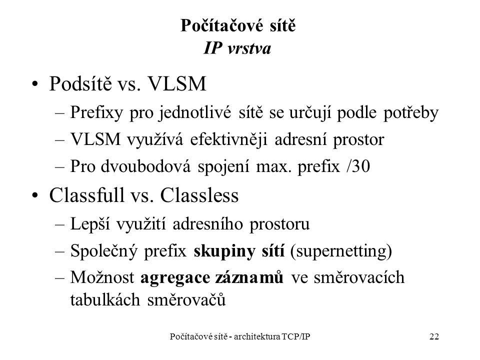 Počítačové sítě IP vrstva Podsítě vs. VLSM –Prefixy pro jednotlivé sítě se určují podle potřeby –VLSM využívá efektivněji adresní prostor –Pro dvoubod