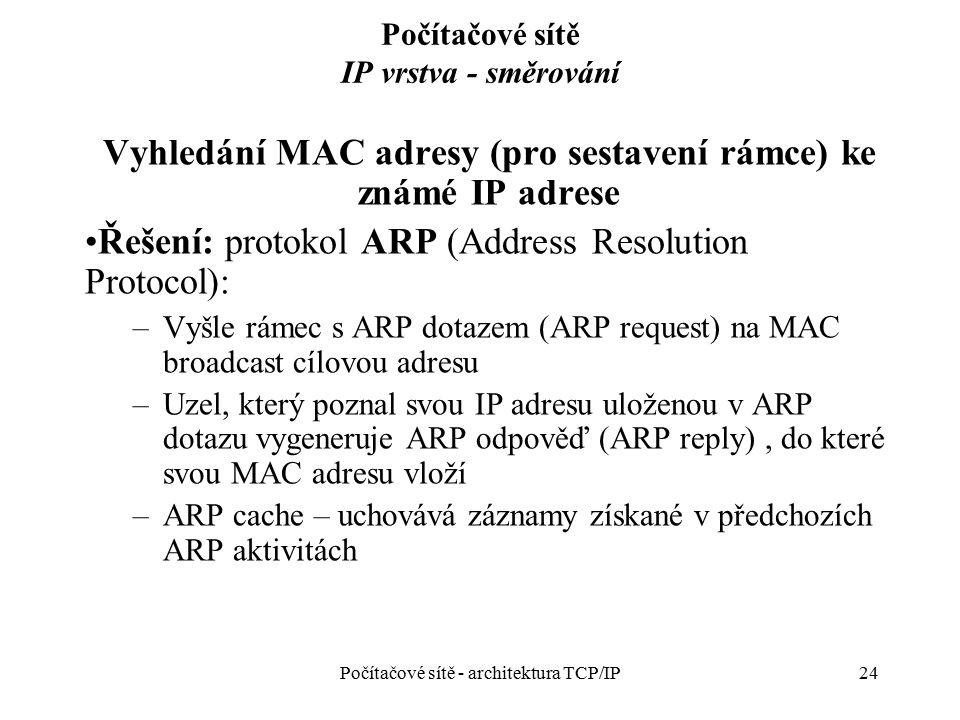 24 Počítačové sítě IP vrstva - směrování Vyhledání MAC adresy (pro sestavení rámce) ke známé IP adrese Řešení: protokol ARP (Address Resolution Protoc