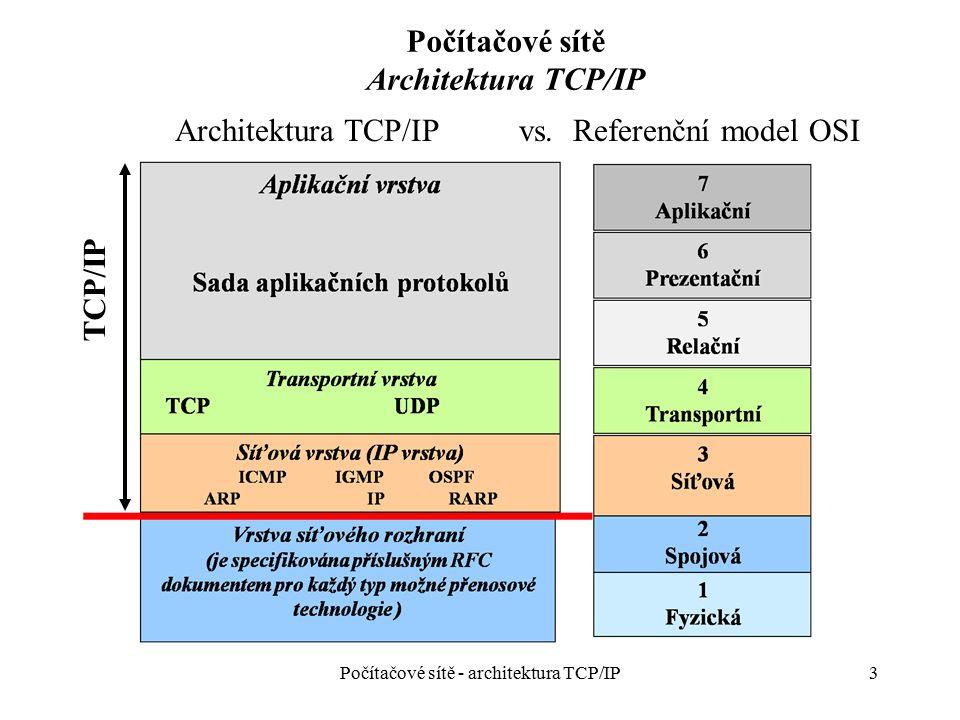 24 Počítačové sítě IP vrstva - směrování Vyhledání MAC adresy (pro sestavení rámce) ke známé IP adrese Řešení: protokol ARP (Address Resolution Protocol): –Vyšle rámec s ARP dotazem (ARP request) na MAC broadcast cílovou adresu –Uzel, který poznal svou IP adresu uloženou v ARP dotazu vygeneruje ARP odpověď (ARP reply), do které svou MAC adresu vloží –ARP cache – uchovává záznamy získané v předchozích ARP aktivitách Počítačové sítě - architektura TCP/IP
