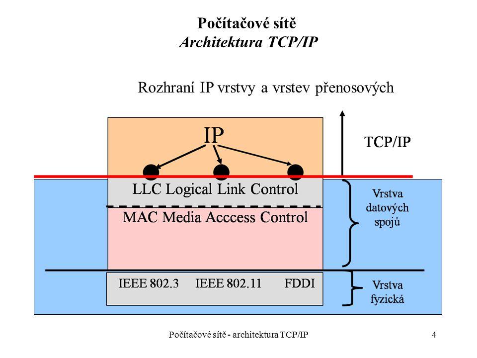 5 Počítačové sítě Architektura TCP/IP Vrstva síťová (Internet Layer) – směrování a přepojování datagramu, fragmentace/defragmentace datagramů - protokoly: –IP (Internet Protocol) – základní protokol sítě, vysílá datagramy, fragmentuje a znovusestavuje datagramy, služba bez spojení, současná verze IPv4 – následující IPv6 –ARP, RARP (Address Resolution Protocol, Reverse ARP) – mapování logické síťové (IP) adresy do do fyzické (MAC) adresy a naopak –ICMP (Internet Control Message Protocol) – generace řídících zpráv o chybách a nestandardních událostech při přenosu datagramu –IGMP (Internet Group Management Protocol) – správa síťových skupin – mapování skupinové MAC adresy do síťové skupinové adresy –OSPF (Open the Shortest Path First) – směrovací protokol –a další Počítačové sítě - architektura TCP/IP