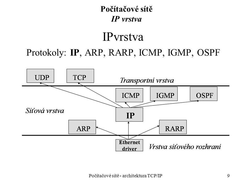20 Počítačové sítě IP vrstva – podsítě IP podsítě (subsítě) Rozdělení velké sítě na řadu menších podsítí Velikost podsítě určuje správce Směrovač používá masku podsítě a IP adresu cílového uzlu k určení cílové podsítě Pro vytvoření adres podsítí se použijí horní bity z pole H (adresa uzlu) Maska podsítě – implicitní maska sítě + bity z pole H použité pro adresování podsítí Maska sítě/podsítě je součástí jednoznačné IP adresy IP broadcast Adresa pokrývající všechny uzly dané sítě nebo podsítě Počítačové sítě - architektura TCP/IP