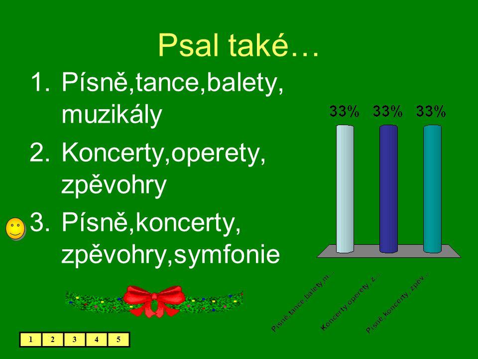Psal také… 1.Písně,tance,balety, muzikály 2.Koncerty,operety, zpěvohry 3.Písně,koncerty, zpěvohry,symfonie 12345