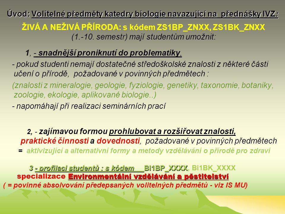 Úvod: BIOLOGICKÁ ČÁST IVZ III Povinné předměty – návaznost studia IVZ I – IVZ IV přednášky = 4 semestry: 1., 2., 3.