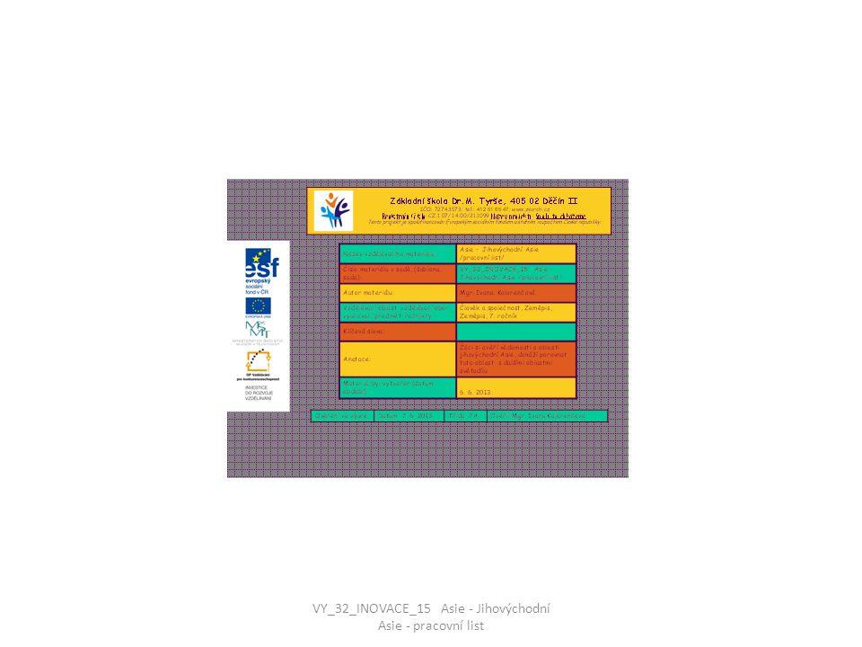 JIHOVÝCHODNÍ ASIE – pracovní list 1.Spoj k sobě správně dvojice : MANILA INDONÉSIE VIKTORIA JAKARTA KUALA LUMPUR BANGLADÉŠ BANGKOK FILIPÍNY MALAJSIE DHÁKA THAJSKO RANGÚN HONGKONG BARMA VY_32_INOVACE_15 Asie - Jihovýchodní Asie - pracovní list