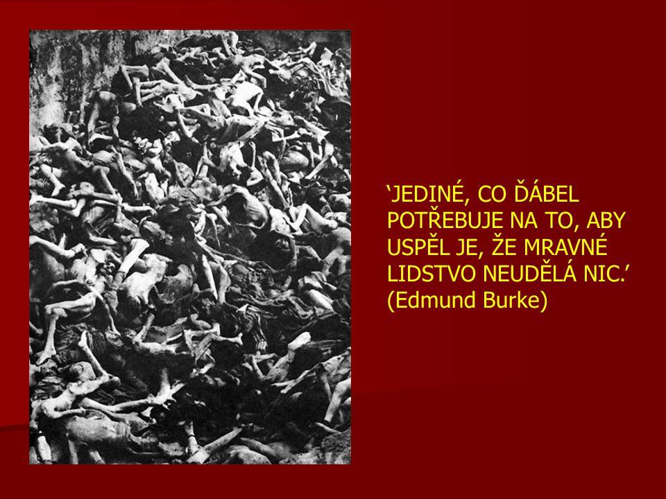 'JEDINÉ, CO ĎÁBEL POTŘEBUJE NA TO, ABY USPĚL JE, ŽE MRAVNÉ LIDSTVO NEUDĚLÁ NIC.' (Edmund Burke)