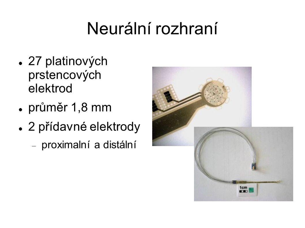 Neurální rozhraní 27 platinových prstencových elektrod průměr 1,8 mm 2 přídavné elektrody  proximalní a distální