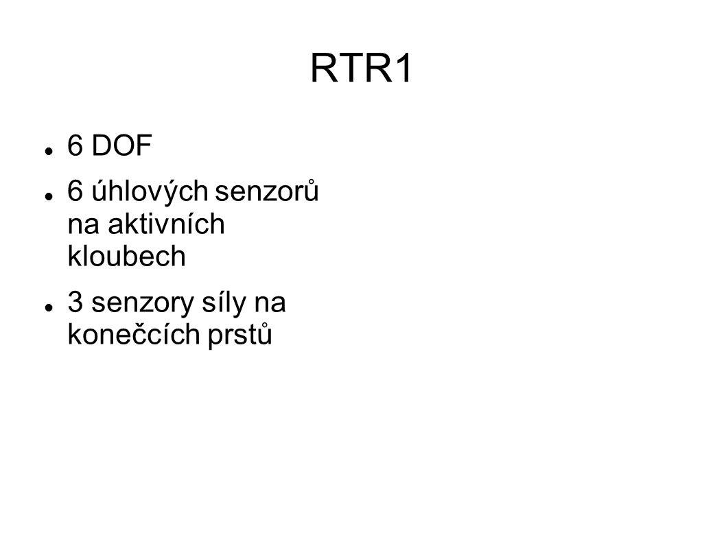 RTR1 6 DOF 6 úhlových senzorů na aktivních kloubech 3 senzory síly na konečcích prstů