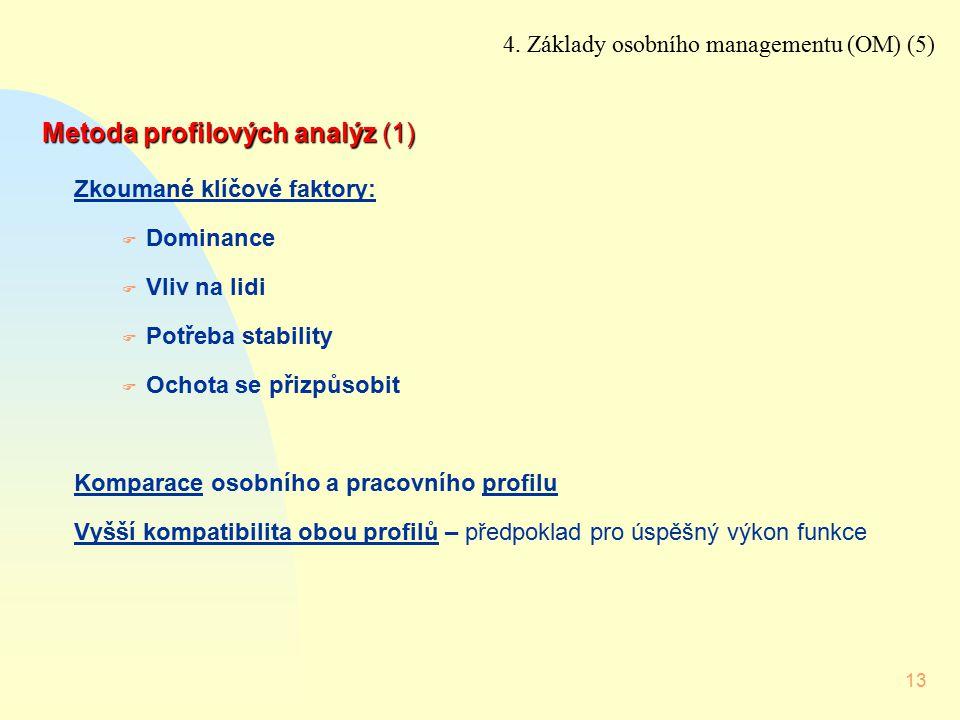 13 Metoda profilových analýz (1) Zkoumané klíčové faktory: F Dominance F Vliv na lidi F Potřeba stability F Ochota se přizpůsobit Komparace osobního a