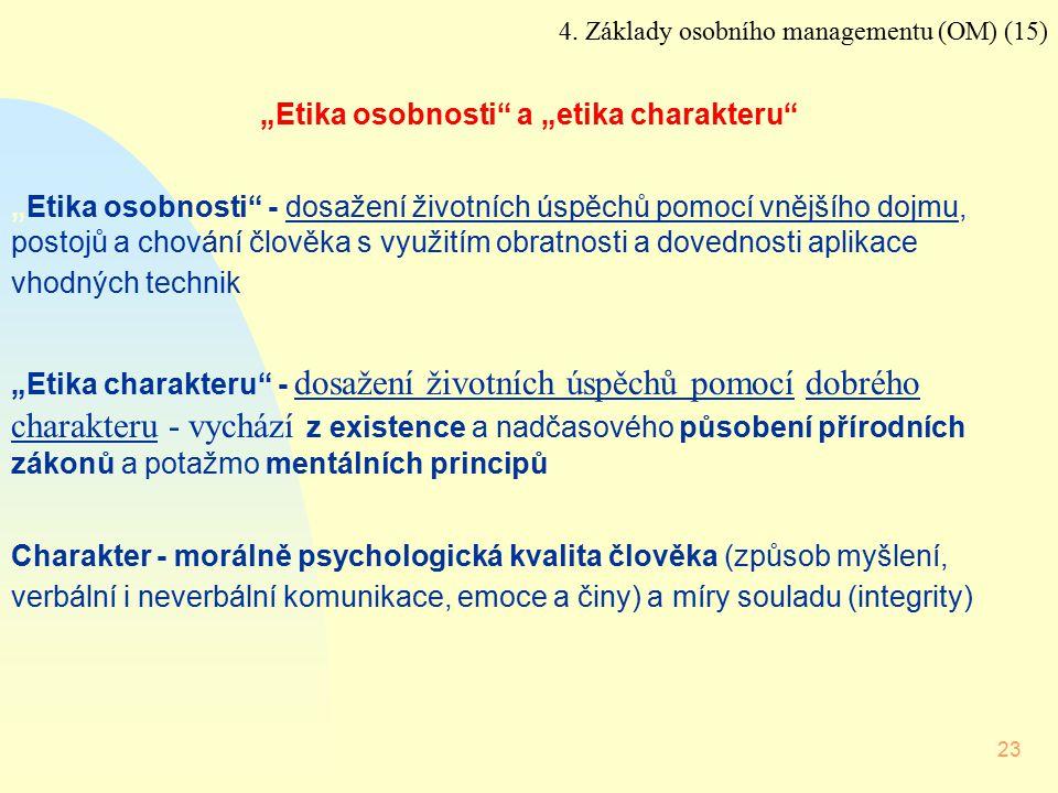 """23 4. Základy osobního managementu (OM) (15) """"Etika osobnosti"""" a """"etika charakteru"""" """"Etika osobnosti"""" - dosažení životních úspěchů pomocí vnějšího doj"""