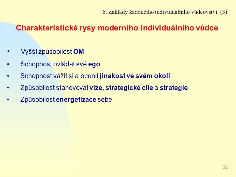 32 6. Základy žádoucího individuálního vůdcovství (3) Charakteristické rysy moderního individuálního vůdce Vyšší způsobilost OM Schopnost ovládat své