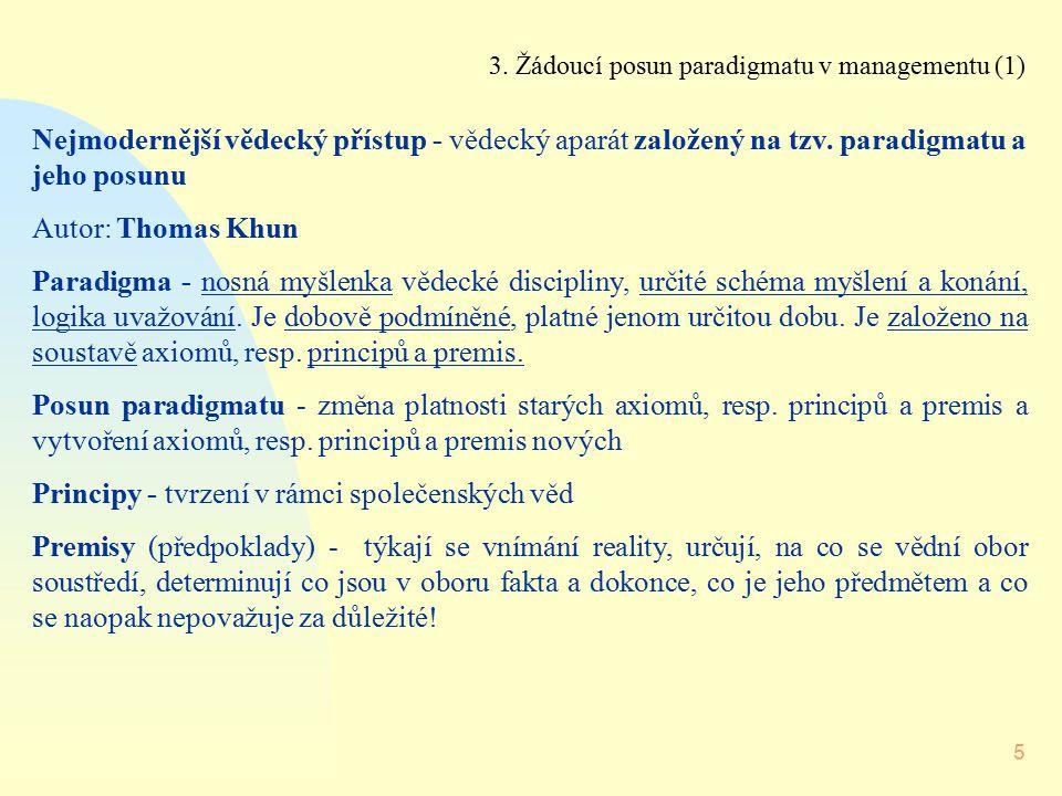 5 3. Žádoucí posun paradigmatu v managementu (1) Nejmodernější vědecký přístup - vědecký aparát založený na tzv. paradigmatu a jeho posunu Autor: Thom