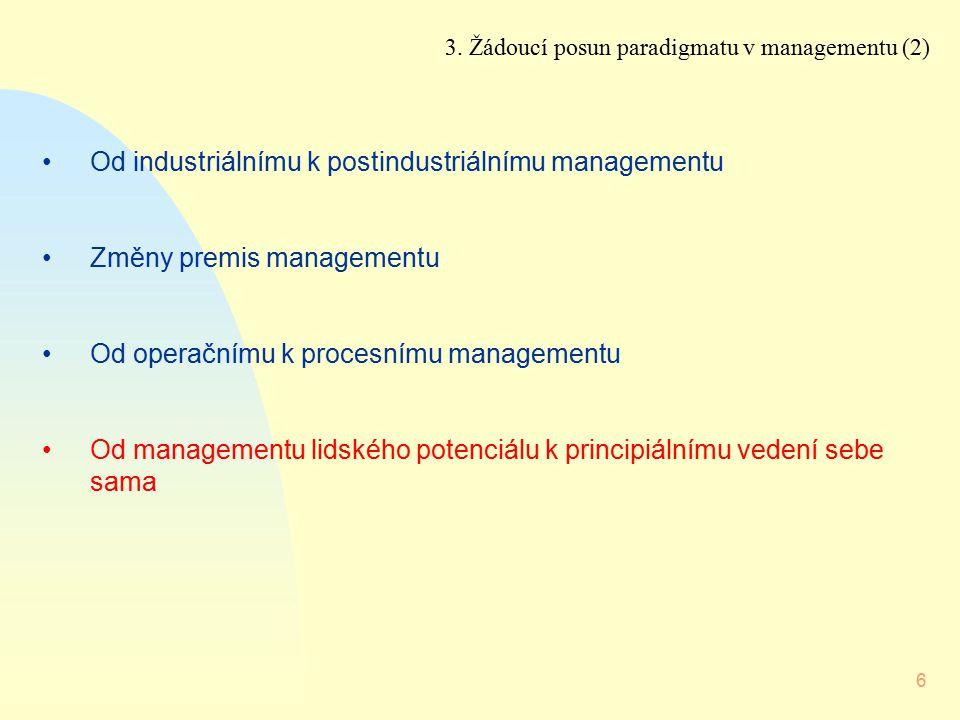 6 Od industriálnímu k postindustriálnímu managementu Změny premis managementu Od operačnímu k procesnímu managementu Od managementu lidského potenciál