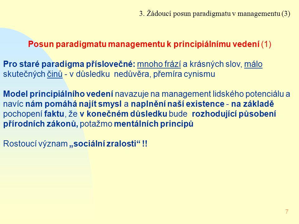 7 Posun paradigmatu managementu k principiálnímu vedení (1) Pro staré paradigma příslovečné: mnoho frází a krásných slov, málo skutečných činů - v důs
