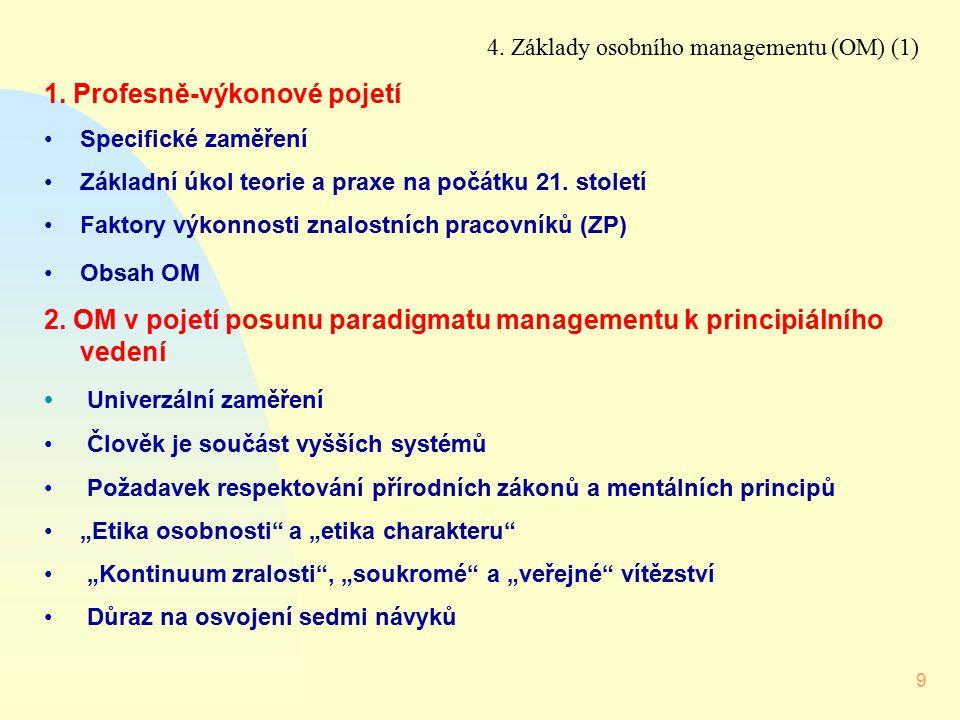 9 4. Základy osobního managementu (OM) (1) 1. Profesně-výkonové pojetí Specifické zaměření Základní úkol teorie a praxe na počátku 21. století Faktory