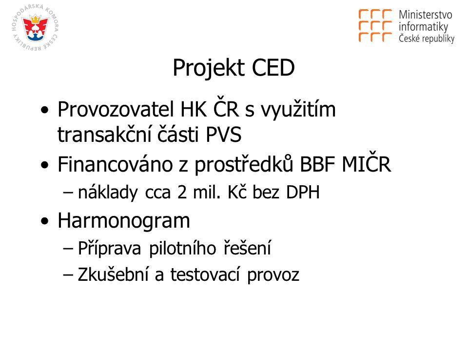 Projekt CED Provozovatel HK ČR s využitím transakční části PVS Financováno z prostředků BBF MIČR –náklady cca 2 mil.