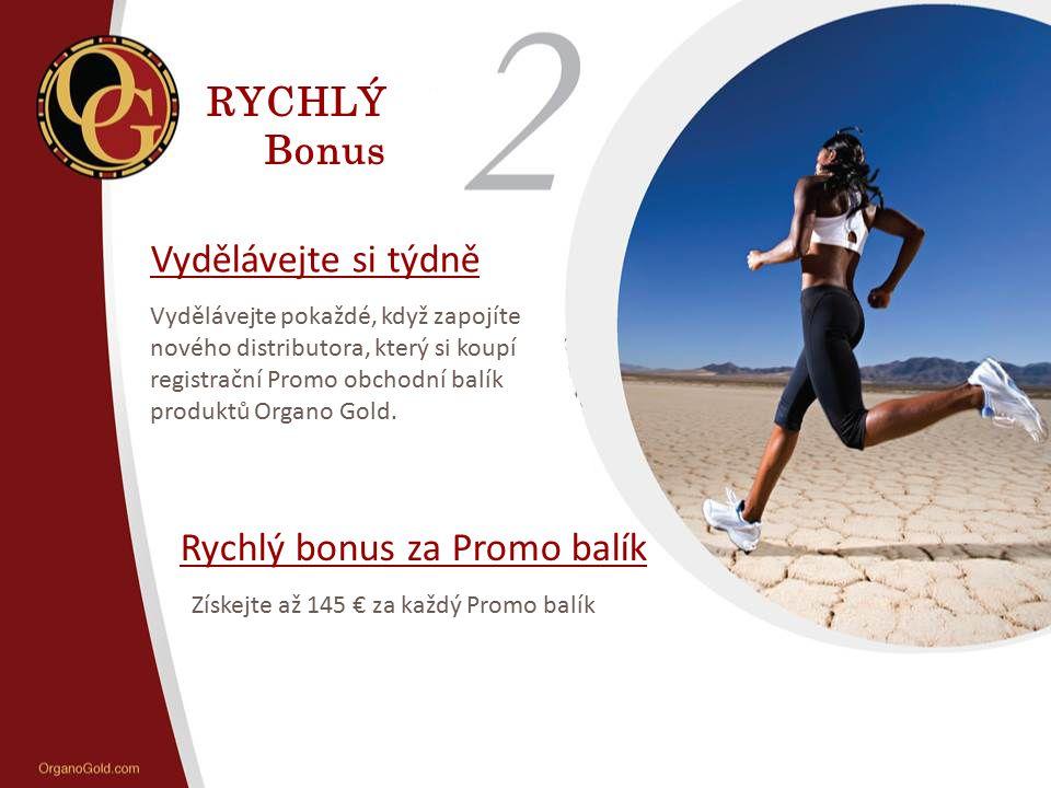 RYCHLÝ Bonus Vydělávejte si týdně Vydělávejte pokaždé, když zapojíte nového distributora, který si koupí registrační Promo obchodní balík produktů Org