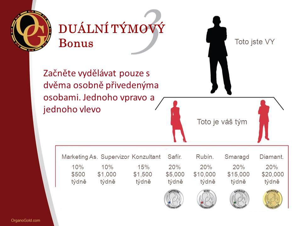 DUÁLNÍ TÝMOVÝ Bonus Toto jste VY Toto je váš tým Marketing As. Supervizor Konzultant Safír. Rubín. Smaragd Diamant. 10% 10% 15% 20% 20% 20% 20% $500 $