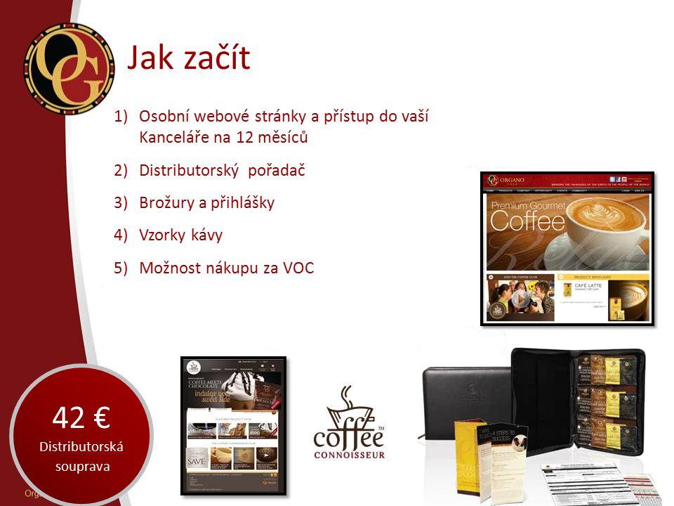 Jak začít 1)Osobní webové stránky a přístup do vaší Kanceláře na 12 měsíců 2)Distributorský pořadač 3)Brožury a přihlášky 4)Vzorky kávy 5)Možnost náku