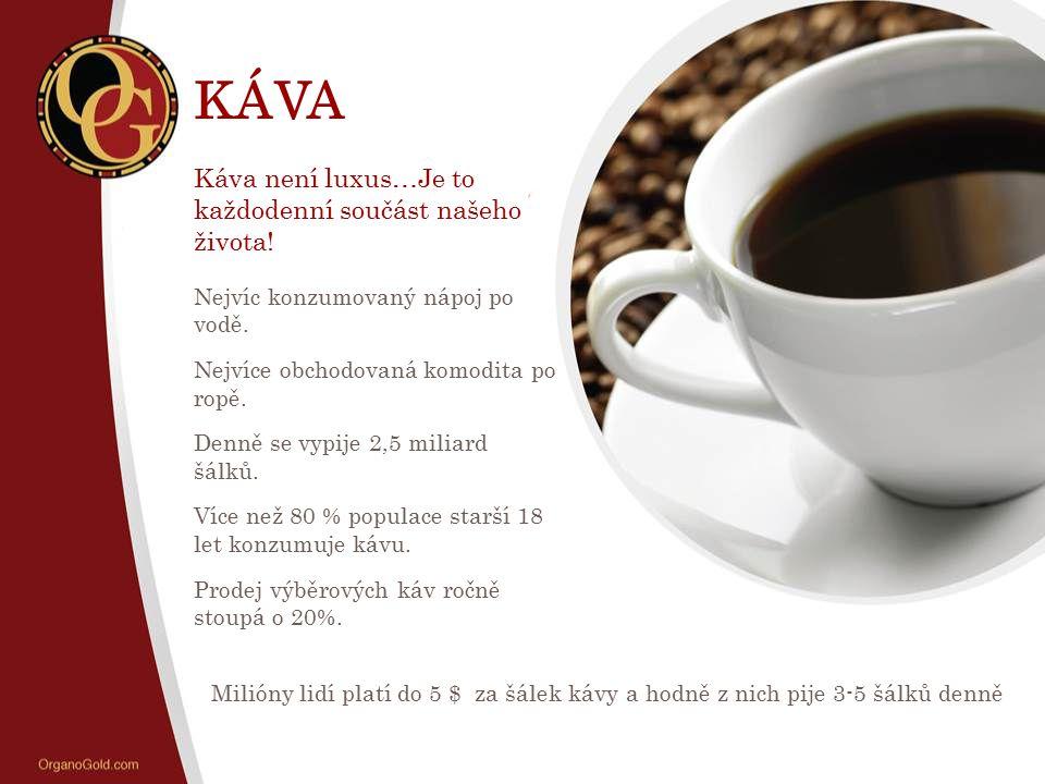 KÁVA Káva není luxus…Je to každodenní součást našeho života! Nejvíc konzumovaný nápoj po vodě. Nejvíce obchodovaná komodita po ropě. Denně se vypije 2