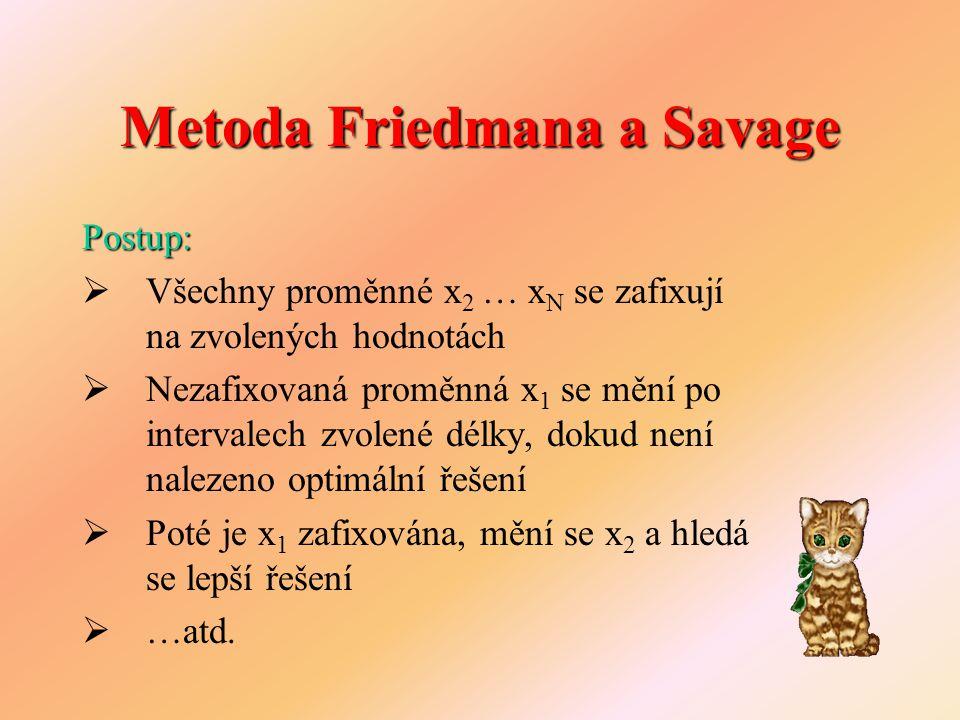 Metoda Friedmana a Savage Postup:  Všechny proměnné x 2 … x N se zafixují na zvolených hodnotách  Nezafixovaná proměnná x 1 se mění po intervalech z