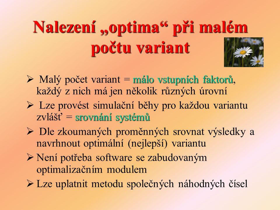 """Nalezení """"optima"""" při malém počtu variant málo vstupních faktorů  Malý počet variant = málo vstupních faktorů, každý z nich má jen několik různých úr"""