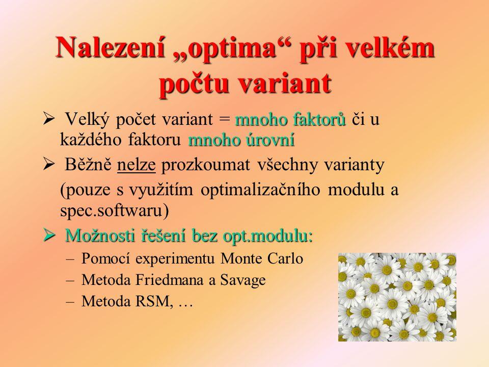 """Nalezení """"optima"""" při velkém počtu variant mnoho faktorů mnoho úrovní  Velký počet variant = mnoho faktorů či u každého faktoru mnoho úrovní  Běžně"""