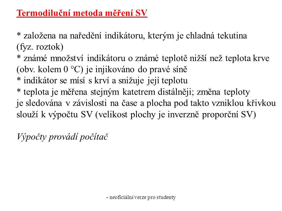 - neoficiální verze pro studenty Termodiluční metoda měření SV * založena na naředění indikátoru, kterým je chladná tekutina (fyz. roztok) * známé mno
