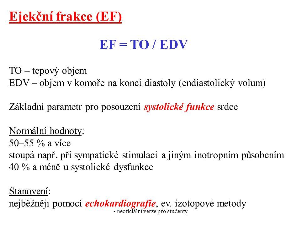 - neoficiální verze pro studenty Ejekční frakce (EF) EF = TO / EDV TO – tepový objem EDV – objem v komoře na konci diastoly (endiastolický volum) Zákl