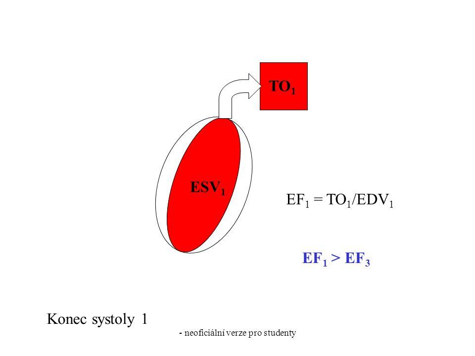 - neoficiální verze pro studenty ESV 1 TO 1 Konec systoly 1 EF 1 = TO 1 /EDV 1 EF 1 > EF 3