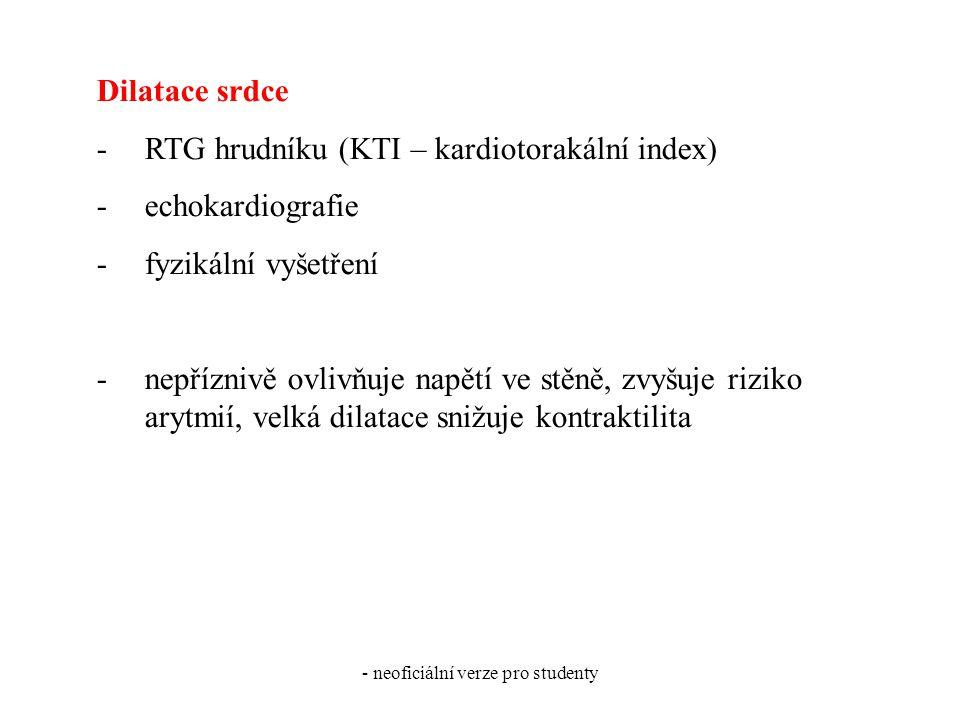 - neoficiální verze pro studenty Dilatace srdce -RTG hrudníku (KTI – kardiotorakální index) -echokardiografie -fyzikální vyšetření -nepříznivě ovlivňuje napětí ve stěně, zvyšuje riziko arytmií, velká dilatace snižuje kontraktilita