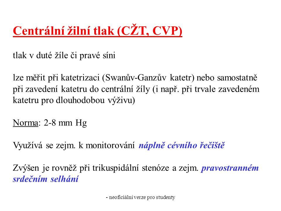 - neoficiální verze pro studenty Centrální žilní tlak (CŽT, CVP) tlak v duté žíle či pravé síni lze měřit při katetrizaci (Swanův-Ganzův katetr) nebo