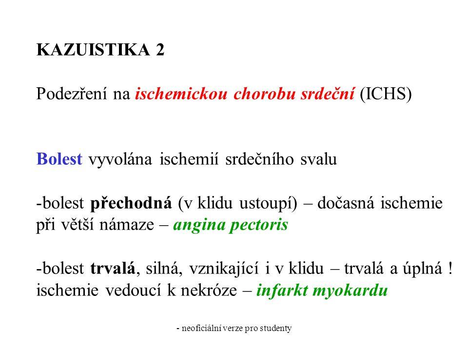 - neoficiální verze pro studenty KAZUISTIKA 2 Podezření na ischemickou chorobu srdeční (ICHS) Bolest vyvolána ischemií srdečního svalu -bolest přechod