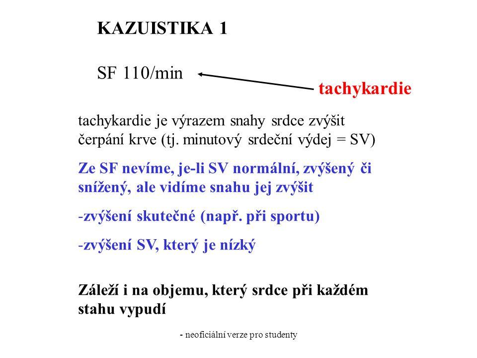 - neoficiální verze pro studenty KAZUISTIKA 1 SF 110/min tachykardie tachykardie je výrazem snahy srdce zvýšit čerpání krve (tj. minutový srdeční výde