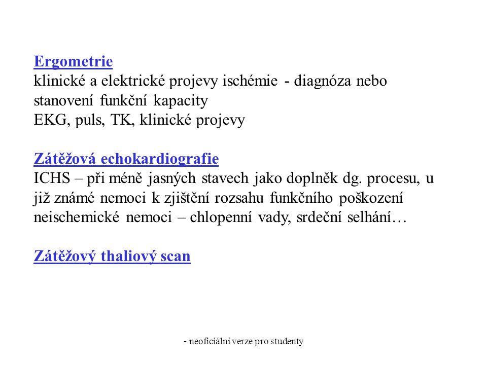 - neoficiální verze pro studenty Ergometrie klinické a elektrické projevy ischémie - diagnóza nebo stanovení funkční kapacity EKG, puls, TK, klinické