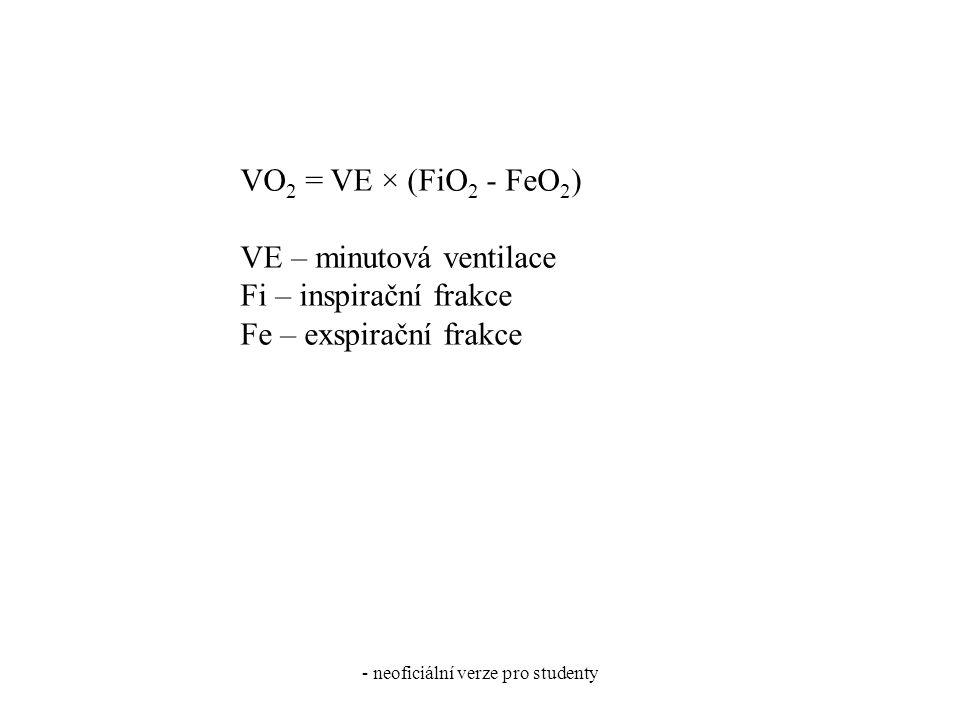 - neoficiální verze pro studenty VO 2 = VE × (FiO 2 - FeO 2 ) VE – minutová ventilace Fi – inspirační frakce Fe – exspirační frakce