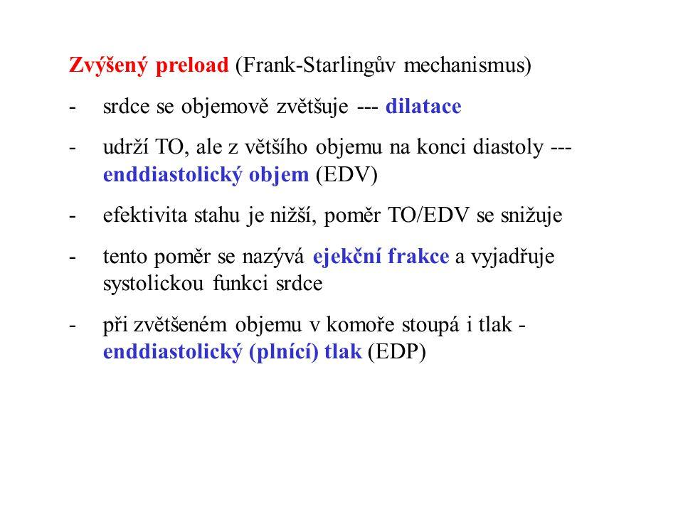 Zvýšený preload (Frank-Starlingův mechanismus) -srdce se objemově zvětšuje --- dilatace -udrží TO, ale z většího objemu na konci diastoly --- enddiast