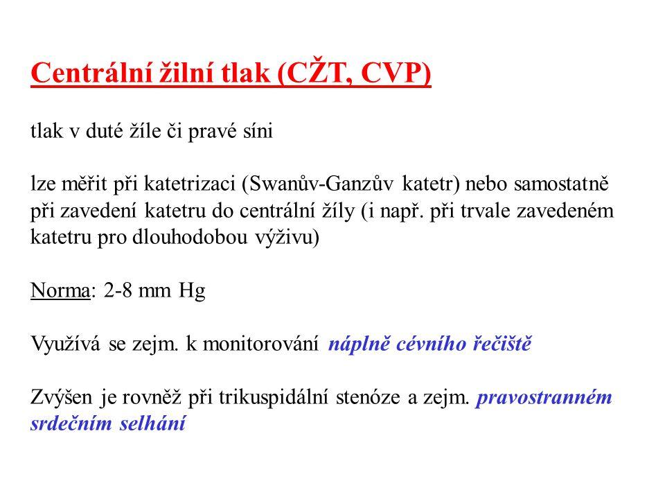 Centrální žilní tlak (CŽT, CVP) tlak v duté žíle či pravé síni lze měřit při katetrizaci (Swanův-Ganzův katetr) nebo samostatně při zavedení katetru d