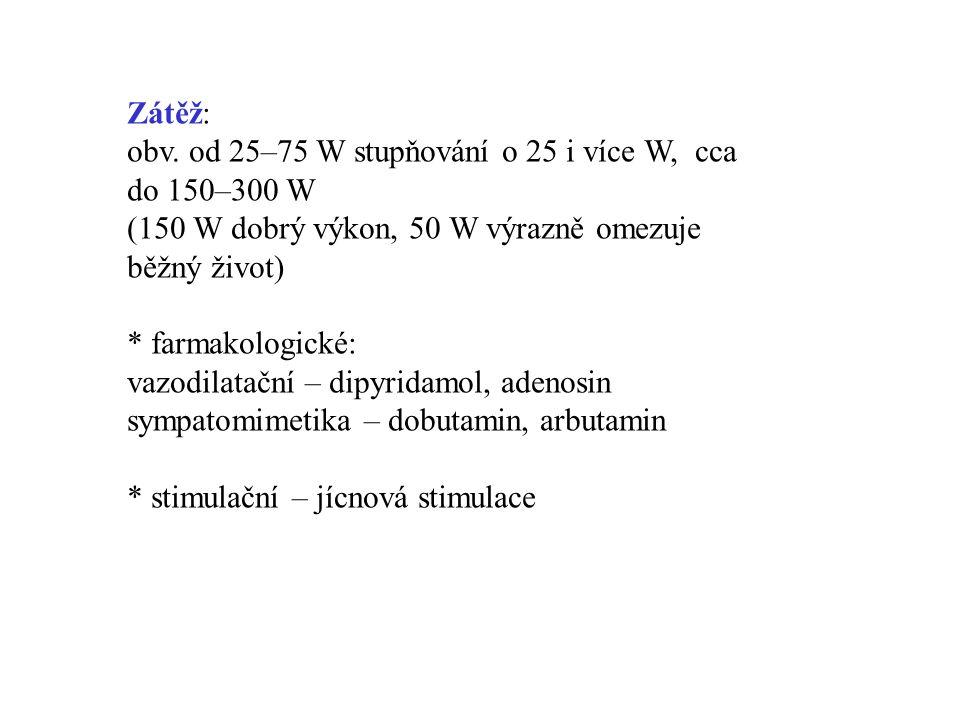 Zátěž: obv. od 25–75 W stupňování o 25 i více W, cca do 150–300 W (150 W dobrý výkon, 50 W výrazně omezuje běžný život) * farmakologické: vazodilatačn
