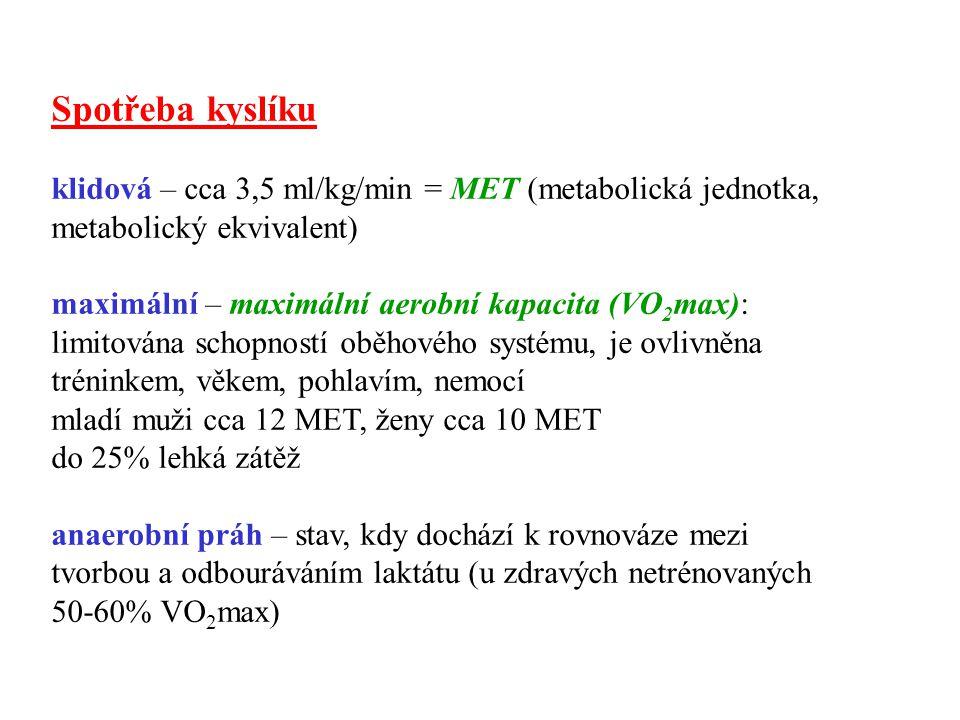 Spotřeba kyslíku klidová – cca 3,5 ml/kg/min = MET (metabolická jednotka, metabolický ekvivalent) maximální – maximální aerobní kapacita (VO 2 max): l