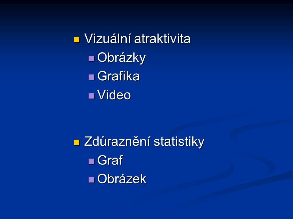 Vizuální atraktivita Vizuální atraktivita Obrázky Obrázky Grafika Grafika Video Video Zdůraznění statistiky Zdůraznění statistiky Graf Graf Obrázek Obrázek