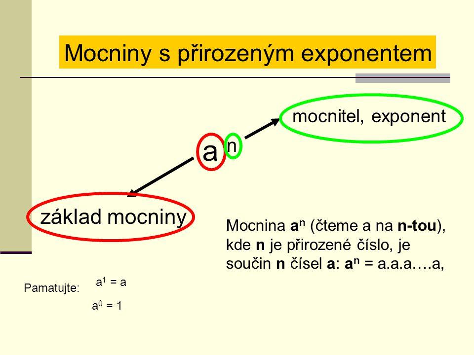 Mocniny s přirozeným exponentem a n základ mocniny mocnitel, exponent Mocnina a n (čteme a na n-tou), kde n je přirozené číslo, je součin n čísel a: a n = a.a.a….a, Pamatujte: a 1 = a a 0 = 1