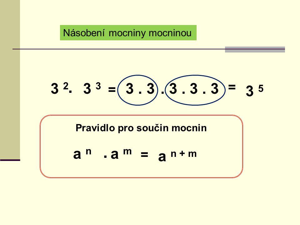 Násobení mocniny mocninou 3 2 3. = 3. 3. 3. 3.