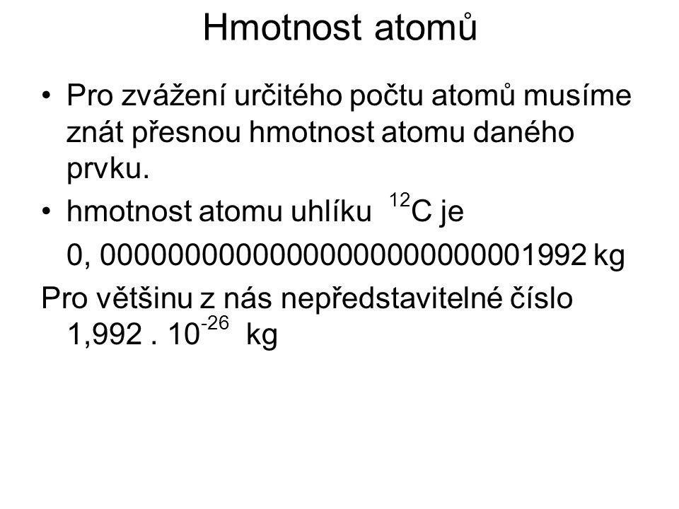 Hmotnost atomů Jednodušší představu získáme, když si představíme kolikrát je daný atom těžší, než atom vodíku Uvažujeme v relativních jednotkách Chemici používají jako srovnávací hodnotu hmotnost 1/12 hmotnosti atomu 12 C, tuto hmotnost pojmenovali atomová hmotnostní konstanta m u m u =1,66.
