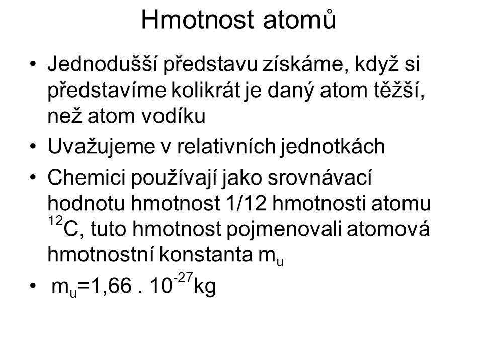 Hmotnost atomů Jednodušší představu získáme, když si představíme kolikrát je daný atom těžší, než atom vodíku Uvažujeme v relativních jednotkách Chemi
